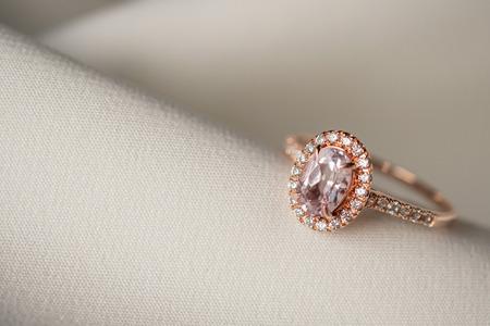 Jewelry wedding pink diamond ring close up