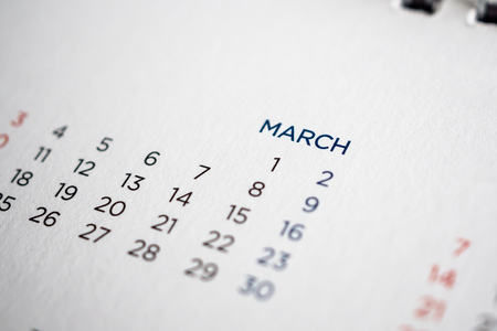 March calendar page with months and dates