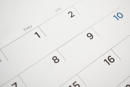calendar page date close up Stock Photo