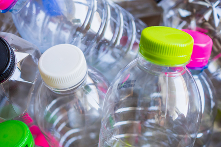 plastic bottles recycling background concept Stock Photo