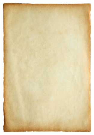 Old vintage paper sheet texture isolated on white background