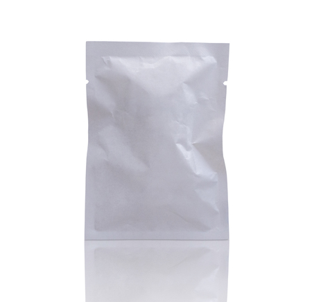 blank white packaging paper sachet isolated on white background with clipping path