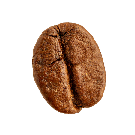 Coffee bean closeup isolated on white background
