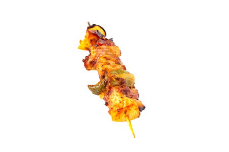 Grilled pork skewer and vegetables barbecue isolated on white background Zdjęcie Seryjne