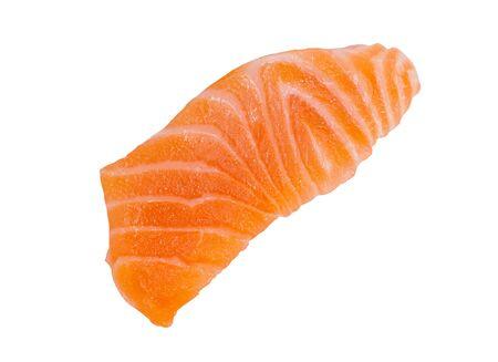 Fresh raw salmon slice sashimi fillet isolated on white background