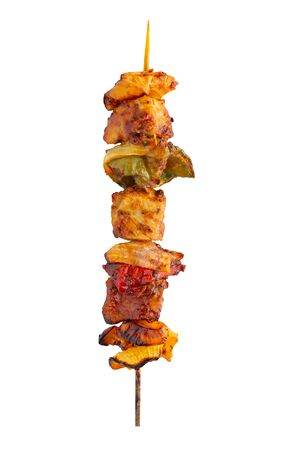 Grilled pork skewer and vegetables barbecue isolated on white background