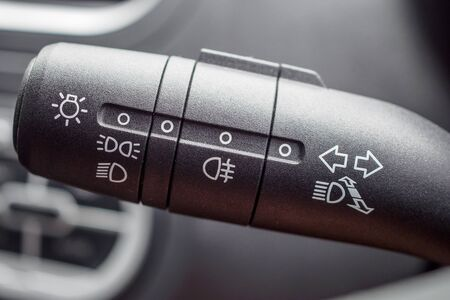 Car light control switch close up 免版税图像