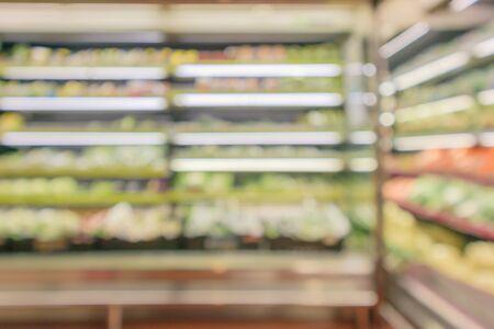 abstract blur organic fresh fruits and vegetable on grocery shelves in supermarket store defocused bokeh light background Zdjęcie Seryjne