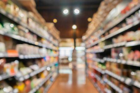 Abstract blur supermarket grocery store aisle interior defocused background Zdjęcie Seryjne