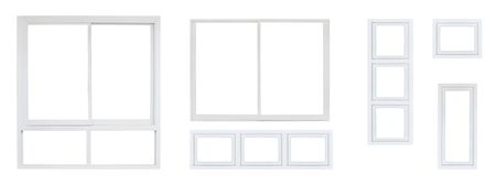 Modern house office or frontstore windows frame set collection isolated on white background