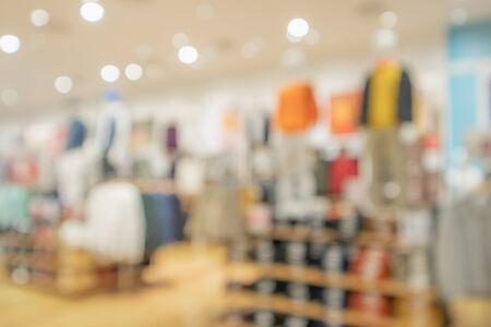 modern clothing store interior blur abstract defocused background with bokeh light Zdjęcie Seryjne