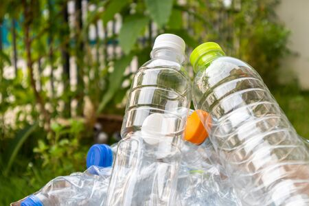 plastic bottles for recycling background concept