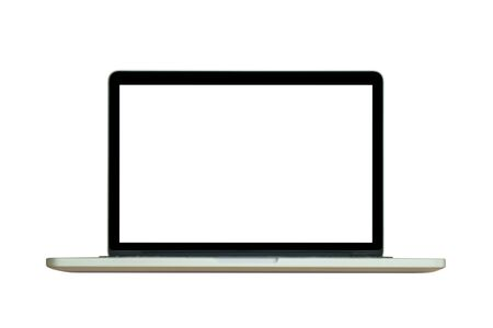 Laptop computer with blank screen isolated on white background Banco de Imagens