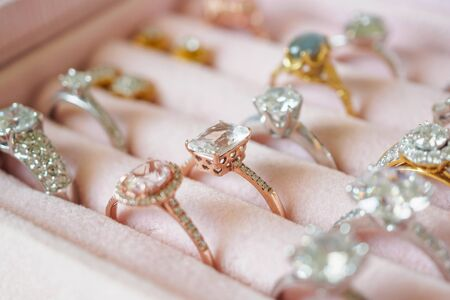 Jewellery diamond rings and earrings in box Archivio Fotografico