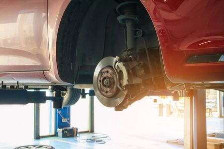 Close up disc brake at car service workshop Stock Photo