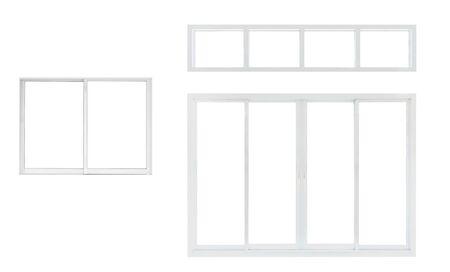 Modernes Hausbüro oder Frontstore-Fensterrahmensammlung lokalisiert auf weißem Hintergrund
