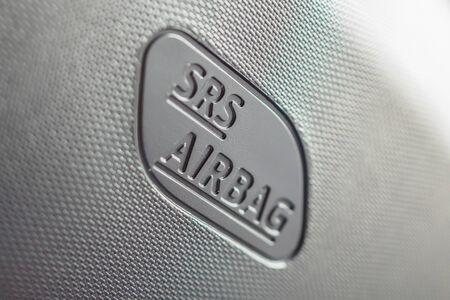 Safety side curtain airbag sign in new modern car Zdjęcie Seryjne