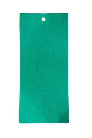 Blank green price tag label isolated on white background Zdjęcie Seryjne