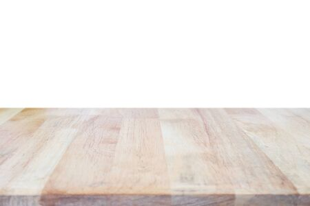 Empty wood table top isolated on white background