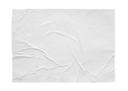 Blank white crumpled and creased sticker paper poster texture isolated on white background Banco de Imagens