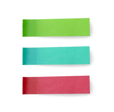 Green blue and red post note paper sticker set isolated on white background