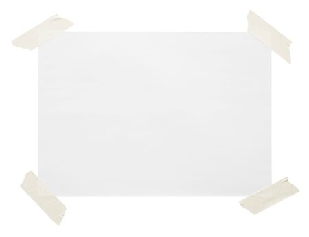 blank note paper with adhesive tape isolated on white background