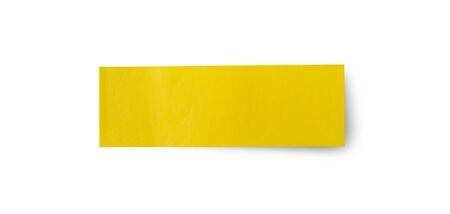 Yellow post note paper sticker isolated on white background