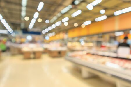 Resumen supermercado supermercado borrosa fondo desenfocado con luz bokeh Foto de archivo