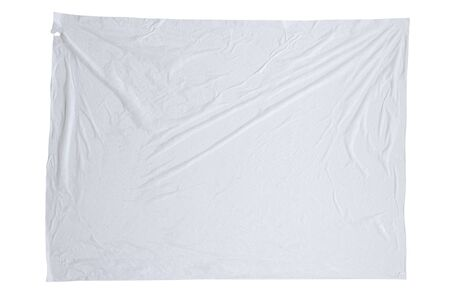 Blank white crumpled and creased sticker paper poster texture isolated on white background Standard-Bild
