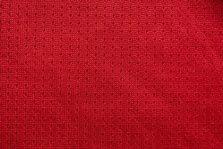 sports clothing fabric football jersey texture top view red color Stockfoto