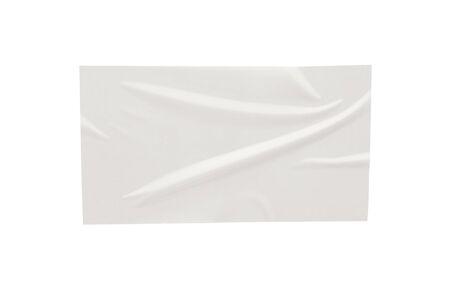 Etiqueta adhesiva de papel aislada sobre fondo blanco Foto de archivo