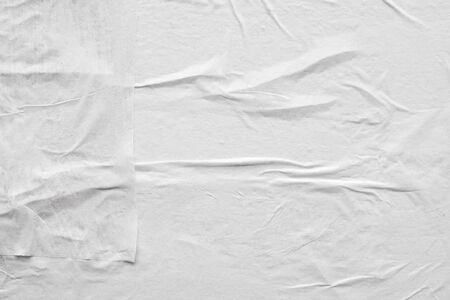 Blank white crumpled and creased paper poster texture background Imagens