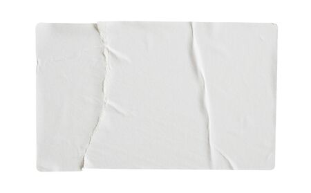 Torn paper sticker label isolated on white background