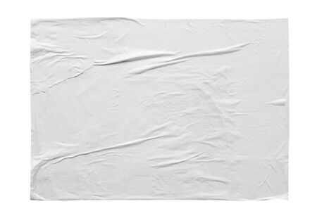 Blank white crumpled and creased sticker paper poster texture isolated on white background