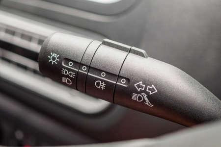 Car light control switch close up
