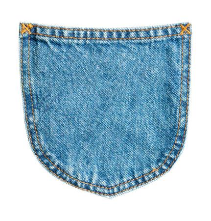 Blue denim Jeans back pocket isolated on white background