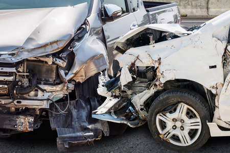 car crash damaged from accident on the road Stock Photo