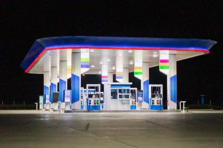 Petrol gas station at night