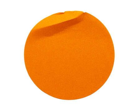 Blank orange round adhesive paper sticker label isolated on white background Stock fotó
