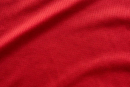 sports clothing fabric football jersey texture top view red color Zdjęcie Seryjne