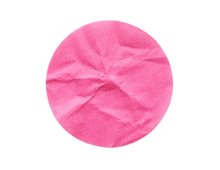 Blank pink round adhesive paper sticker label isolated on white background