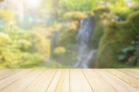 Empty wood table top with abstract blur park garden pond background
