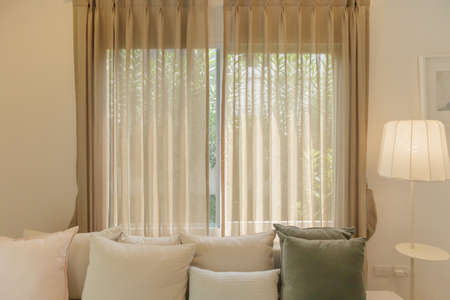living room interior with window curtain background