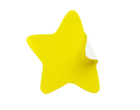 Yellow star shape paper sticker label isolated on white background