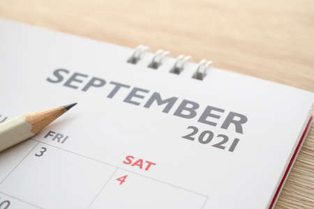 September month on 2021 calendar page with pencil business planning appointment meeting concept