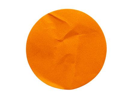 Blank orange round adhesive paper sticker label isolated on white background Banco de Imagens