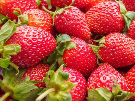 Fresh organic Strawberry fruit background Banco de Imagens