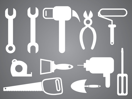 Tools icon set in gray background illustration. Archivio Fotografico - 100617329