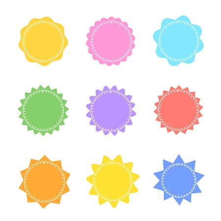Set of colorful starburst stamps on white background.  イラスト・ベクター素材