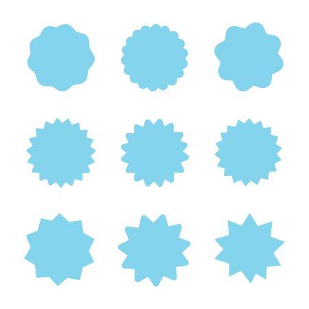 Set of blue starburst stamps on white background.